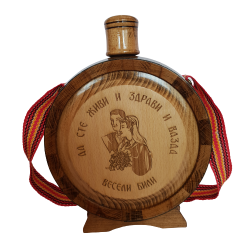 Wooden bottle with glass flask engraved Serbia 0.75l (27x21)cm