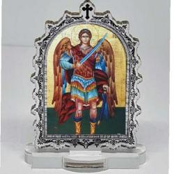 Plexiglass Icon St. Archangel Michael with Pedestal (6.2x3.9)cm
