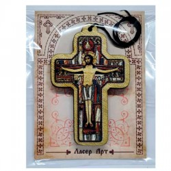 Wooden Color Cross for Car with Prayer for Drivers (8.4x5.4)cm - in the package