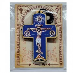 Wooden Cross for Car in Color (8.25x5.6)cm - in the package