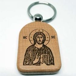 Privezak za ključeve od drveta Gospod Isus Hristos (4.7x3.5)cm - u pakovanju