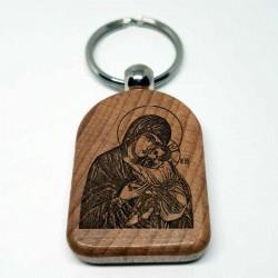 Privezak za ključeve od drveta Bogorodica (4.7x3.5)cm - u pakovanju