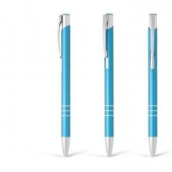 Metal Ball Pens - OGGI SLIM Engraved (0.8x13.8)cm - turquoise