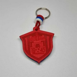 Key Pendant made of EVA foam engraved- red blue white