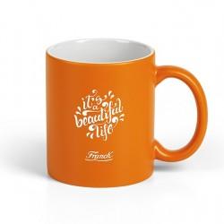 GRETA Stoneware Mug 325ml Engraved - Orange