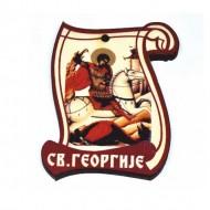 Drveni Blagoslov Sveti Georgije - Đorđe sa Molitvom za Vozače (6.2x4.9)cm