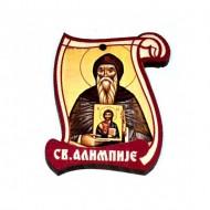 Drveni Blagoslov Sveti Alimpije sa Molitvom za Vozače (6.2x4.9)cm