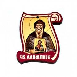 Drveni Blagoslov Sveti Alimpije sa Molitvom za Vozače (6.2x4.9)cm - u pakovanju