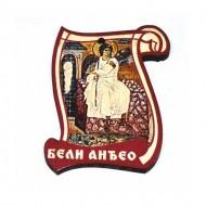 Drveni Blagoslov Beli Anđeo sa Molitvom za Vozače (6.2x4.9)cm
