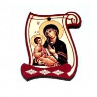 Drveni Blagoslov Bogorodica sa Molitvom za Vozače (6.2x4.9)cm