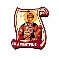 Drveni Blagoslov Sveti Dimitrije sa Molitvom za Vozače (6.2x4.9)cm - u pakovanju