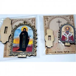 Wooden Icon Virgin Mary with Pedestal (6.2x3.9)cm