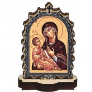 Wooden Icon Virgin Mary with Pedestal (9.5x6.1)cm