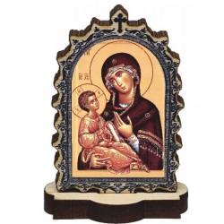 Drvena Ikona Bogorodica sa postoljem (6.2x3.9)cm