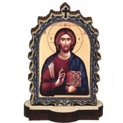 Drvena Ikona Gospod Isus Hristos sa postoljem (6.2x3.9)cm