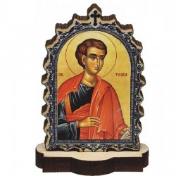 Wooden Icon St. apostel Thomas with Pedestal (6.2x3.9)cm - in the package