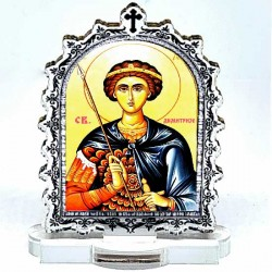 Plexiglass Icon St. Demetrius with Pedestal (6.2x3.9)cm
