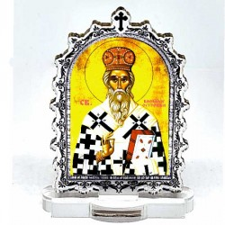 Plexiglass Icon St. Basil of Ostrog with Pedestal (9.5x6.1)cm
