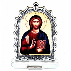 Plexiglass Icon Lord Jesus Christ with Pedestal (6.2x3.9)cm