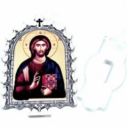 Plexiglass Icon Lord Jesus Christ with Pedestal (6.2x3.9)cm