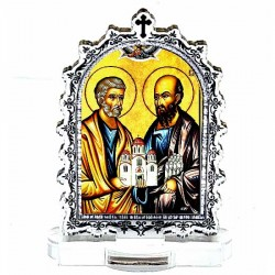 Plexiglass Icon St. Apostles Peter and Paul with Pedestal (6.2x3.9)cm