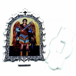 Plexiglass Icon St. Archangel Michael with Pedestal (9.5x6.1)cm
