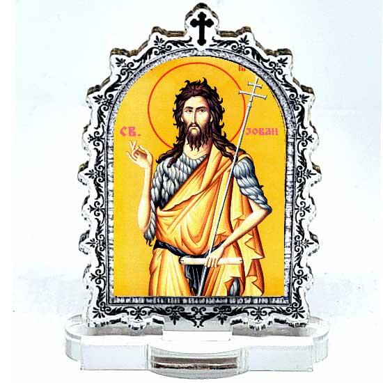 Plexiglass Icon St. John the Baptist with Pedestal (9.5x6.1)cm