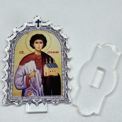 Plexiglass Icon St. Dimitrije with Pedestal (9.5x6.1)cm