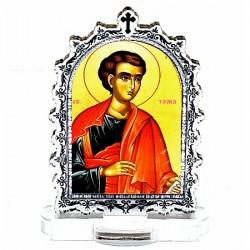 Plexiglass Icon St. Apostel Thomas with Pedestal (6.2x3.9)cm