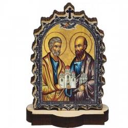 Drvena Ikona Sveti Apostoli Petar i Pavle sa postoljem (6.2x3.9)cm - u pakovanju