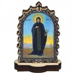 Wooden Icon St. Petka - Paraskeva with Pedestal (9.5x6.1)cm