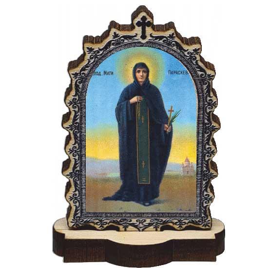 Wooden Icon St. Petka - Paraskeva with Pedestal (9.5x6.1)cm