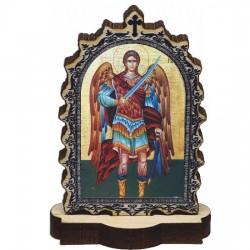 Drvena Ikona Sveti Arhangel Mihailo sa postoljem (6.2x3.9)cm - u pakovanju