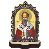 Wooden Icon St. Nicholas with Pedestal (6.2x3.9)cm