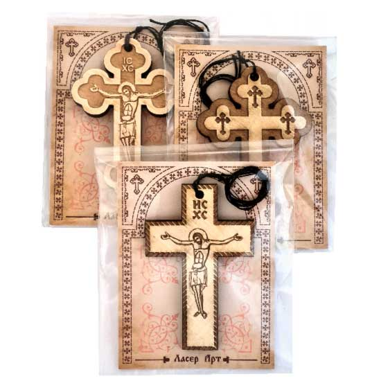 Wooden Engraved Cross Monastery Ostrog (5x3.3)cm