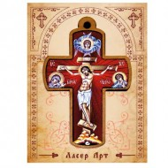 Wooden Cross for Car in Color (8.25x5.6)cm
