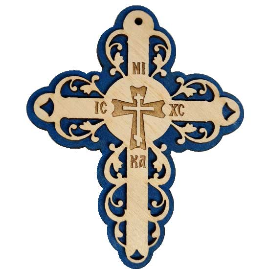 Wooden Three Layer Cross for Car Virgin Mary Blue (10x7.3)cm
