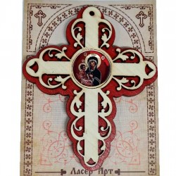 Wooden Three Layer Cross for Car Virgin Mary Red (10x7.3)cm