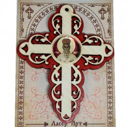 Wooden Three Layer Cross for Car St. Basil of Ostrog Red (10x7.3)cm