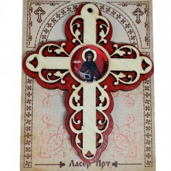 Wooden Three Layer Cross for Car St. Petka - Paraskeva Red (10x7.3)cm - in the package