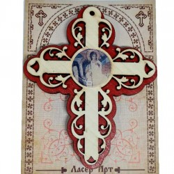 Wooden Three Layer Cross for Car White Angel Red (10x7.3)cm