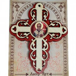 Wooden Three Layer Cross for Car St. Nicholas Red (10x7.3)cm - in the package