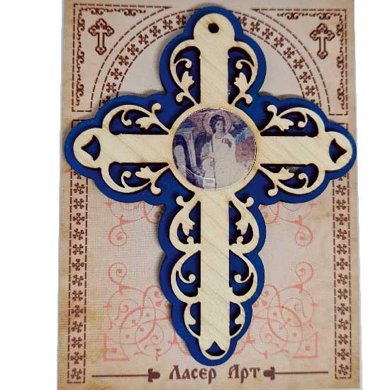 Wooden Three Layer Cross for Car White Angel Blue (10x7.3)cm - in the package