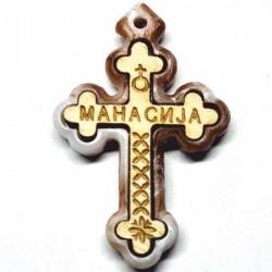 Wooden cross with a marble of polystyrene frame monastery Manasija (3.6x2.3)cm