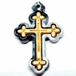Wooden cross with a marble of polystyrene frame (3.6x2.3)cm