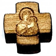 Wooden Cross for Rosaries Virgin Mary whitout a hole (1.5x1.5)cm