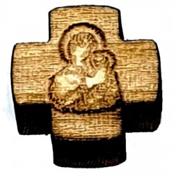 Wooden Cross for Rosaries Virgin Mary whitout a hole (1.3x1.3)cm