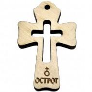 Gravirani Drveni Krstić Ostrog (3.6x2.6)cm