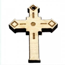 Wooden Engraved Cross (3.4x2.7)cm - in the box