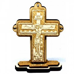 Wooden Engraved Cross Three Layer with Pedestal and Prayer (10x7.5)cm